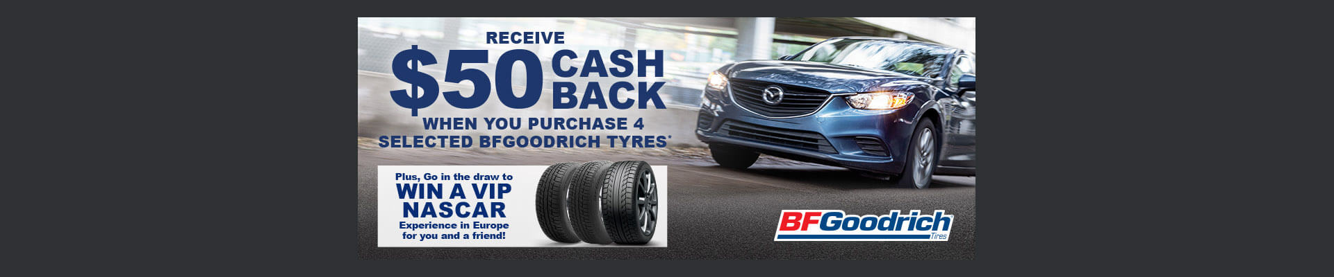 $50 cash back on BFGoodrich tyres